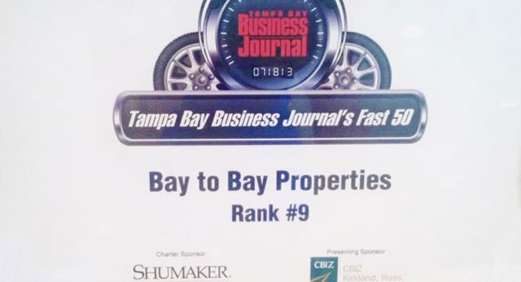 tampa bay business journel fast 50 award